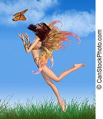 Pretty Orange Fairy in Sunshine
