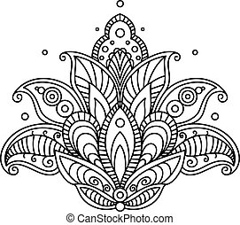 Pretty ornate paisley flower design element in a dainty...