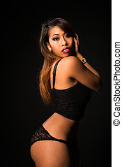 Cambodian - Pretty petite Cambodian girl all in black