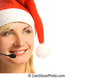 Pretty phone operator in Santa hat isolated over white