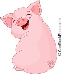 Pretty Pig - Illustration of cute pretty pig