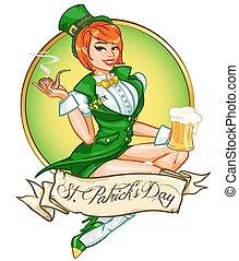 Pretty Pin Up Girl with beer mug and smoking pipe