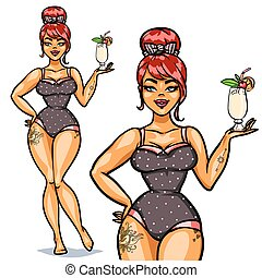 Pretty Pin Up Girl with cocktail