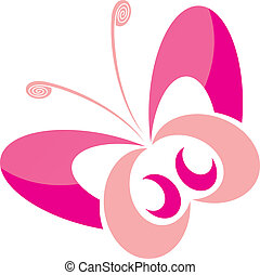 pink butterfly - pretty pink butterfly on a white background...