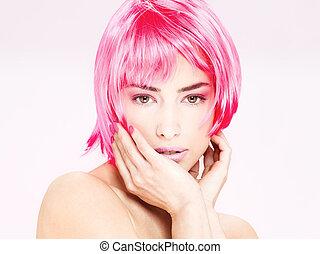 pretty pink hair woman
