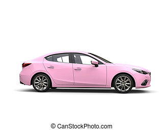 Pretty pink modern fast business car - side view