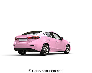 Pretty pink modern fast business car - tail view