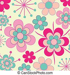 Pretty, pink retro flowers seamless