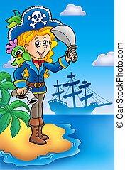 Pretty pirate girl on island - color illustration.