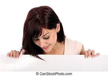 Pretty Presentation Girl - Gorgeous smiling brunette holding...