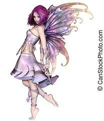 Pretty Purple Fairy - Fantasy illustration of a cute and...