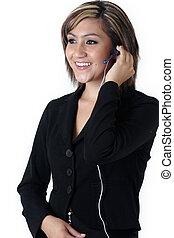 Pretty receptionist wearing headset
