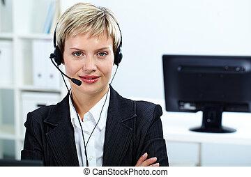 Pretty receptionist - Portrait of customer service operator...