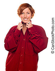 Pretty Red Haired Girl Wearing a Warm Red Corduroy Shirt