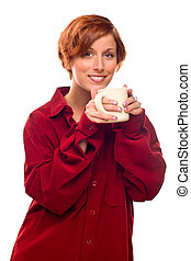 Pretty Red Haired Girl with Hot Drink Mug Isolated