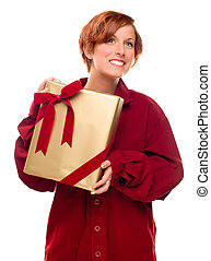 Pretty Red Haired Girl with Wrapped Gift Isolated