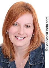 pretty redhead headshot - closeup headshot portrait of one...
