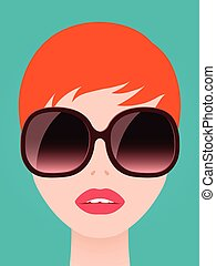 Pretty redhead woman in trendy sunglasses - Pretty redhead...