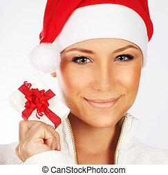 Pretty Santa girl closeup portrait