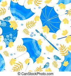 pretty seamless texture with blue umbrellas and fall leaves on w