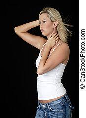 pretty serene woman with wind blown hair - Attractive blond ...