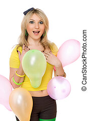 Pretty sexy blond girl with balloons