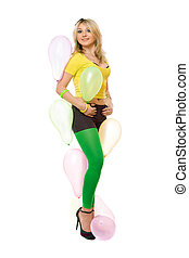 Pretty sexy blond woman with balloons