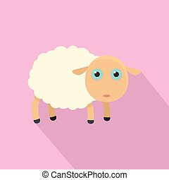 Pretty sheep icon, flat style