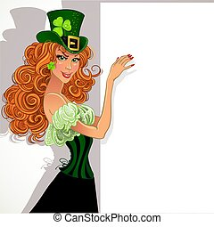 Leprechaun holding a large banner - Pretty slim red-haired...