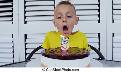 Pretty small boy makes a wish for a birthday and blowing a candle on the cake on the day of his birth in indoors at white background. Birthsday party