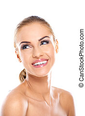 Pretty Smiling Face of Bare Woman