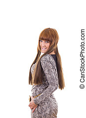 smiling girl in gray dress
