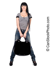 Pretty smiling girl with a handbag. Isolated