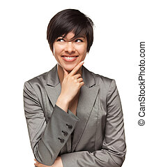 Pretty Smiling Multiethnic Young Adult Woman with Eyes Up and Over Isolated on a White Background.