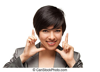 Pretty Smiling Multiethnic Young Adult Woman Framing Her Face with Her Hands Isolated on a White Background.