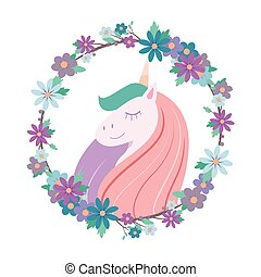 Pretty smiling unicorn with floral wreath