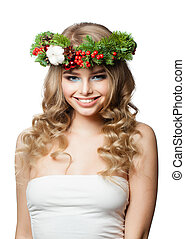 Pretty smiling woman Christmas model isolated on white