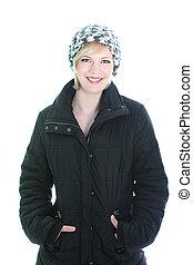 Pretty smiling woman in winter coat