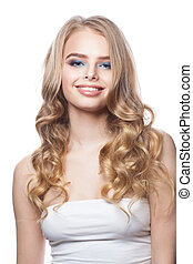 Pretty smiling woman on white background