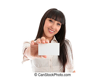 A beautiful smiling young woman holding a businesscard, club card, id card, licence or other. Blank. White background.