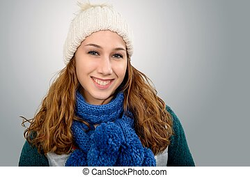 young woman with a  winter cap