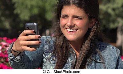 Pretty Spanish Woman Selfie