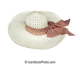 Pretty straw hat on white background