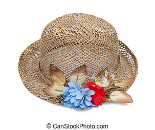 straw hat with flower on white