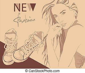Pretty street fashion girl in sketch style. Vector illustration.