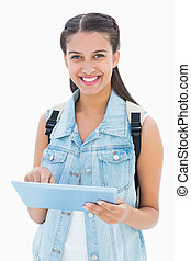Pretty student using her tablet pc