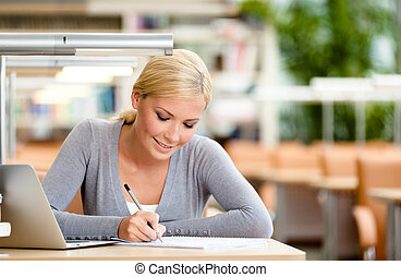 Pretty student working at the desk