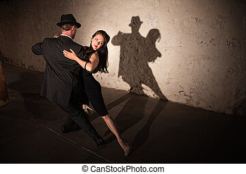 Pretty Tango Dancer with Partner - Beautiful woman with...