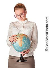 pretty teacher with globe