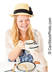 Pretty Teen at Tea Party